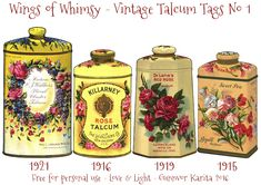 Wings of Whimsy: Vintage Talcum Tags No 1 ~ Free printables Printable Labels, Printable Designs, Printable Paper, Free Printables, Vintage Tags, Vintage Prints, Cosmetic Labels, Minis, Flowery Wallpaper