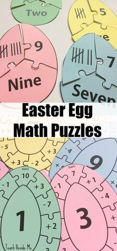 Easter Egg Math Puzzles via @karyntripp