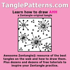 Step-by-step instructions to learn how to draw the Zentangle-original tangle pattern: Ahh