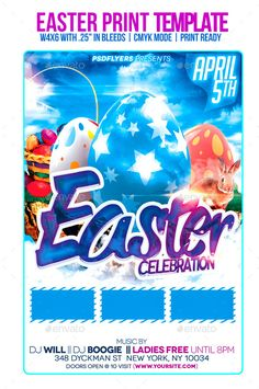 Easter Celebration (CS5, 4.25x6.25, advertisement, bash, bunny, butterfly, celebration, club, colorful, design, easter, easter party, egg, event, festival, flyer, fresh, fun, grass, happy easter, holiday, kids party, poster, print, rabbit, spring, template)