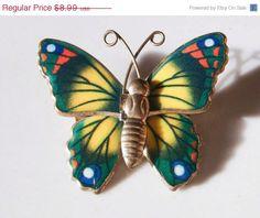 On Sale Vintage Metal Butterfly Pin brooch by PaganCellarJewelry, $6.74