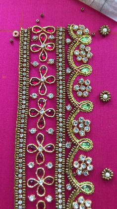 Aari Embroidery, Embroidery Neck Designs, Hand Embroidery Videos, Bead Embroidery Patterns, Hand Work Blouse Design, Simple Blouse Designs, Bridal Blouse Designs, Blouse Neck Designs, Saree Jacket Designs