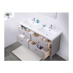 IKEA - HEMNES / ODENSVIK, Meuble pour lavabo, 4 tiroirs, gris, , Tiroirs munis de butées, s'ouvrant et se refermant en douceur.S'ouvre entièrement pour une meilleure visibilité et un accès aisé au contenu.Lavabo double : utilisable par plusieurs personnes en même temps.Le siphon fourni est facile à raccorder au tuyau d'évacuation.Le design du siphon permet d'avoir tout l'espace nécessaire pour accueillir un tiroir spacieux ...