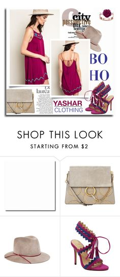 """Embroidered Tank Dress by Yashar Clothing"" by yasharclothing ❤ liked on Polyvore featuring Chloé, Eugenia Kim and French Connection"