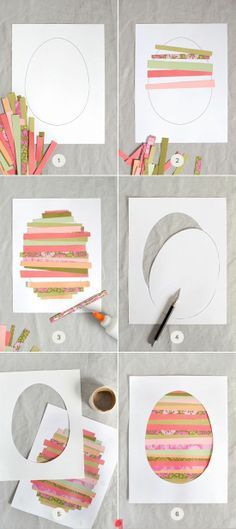 Paper Strip Easter Egg Art for Kids. Frame it and hang it year after year as an Easter decoration!  #Paper #Strip #Easter #Egg #Art #Kids #Crafts #Holiday #Project