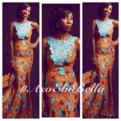 Brown & Blue Ankara Print Dress with Blue Lace Detail