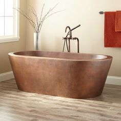 "69"" Collette Hammered Copper Freestanding Tub"