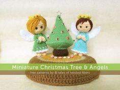 Miniature Christmas Tree & Angels byTales-of-Twisted-Fibers. Free pattern.