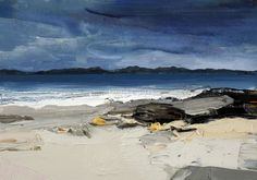 Chris Bushe - Wild Islands and Winter Lands Watercolor Landscape, Abstract Landscape, Seascape Paintings, Landscape Paintings, Beach Art, Artist Art, Painting Inspiration, Painting & Drawing, Amazing Art