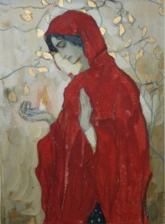 The girl in the red cloak (1904) by Mikhail Nesterov (1862-1942), Russian Symbolist (motehistoire)