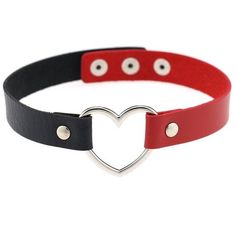 Belego Belego Unisex Punk Goth Heart PU Leather Choker Vintage Emo... ❤ liked on Polyvore featuring jewelry, necklaces, vintage jewelry, collar choker, punk necklace, heart choker and heart necklace