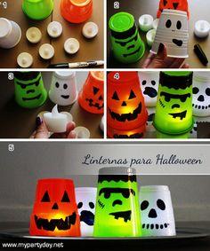 Halloween Lanterns made with plastic cups /  Linternas para halloween hechas con vasos plásticos