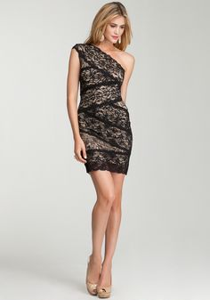 Lace, asymmetrical, another great option if you need to attend a wedding.