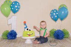 Are you sure I can touch this mom?  Monster cake smash, little boy   Www.jackiejanestudios.com