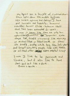 """""""I mean, I like to be passionate and sincere, but I also like to have fun and act like a dork."""" -Excerpt from one of Kurt Cobain's journals."""