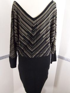 Jessica Simpson Sweater Dress Black Taupe Above knee, mini, Acrylic, Large #JessicaSimpson #SweaterDress #Casual