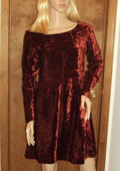 Hugo Buscati Small Dress Mini Baby Doll Oxblood Red Crushed Velvet Empire Waist #HugoBuscati #EmpireWaist #Clubwear