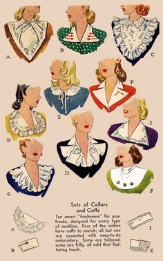 Vintage Victorian 10 Collars and 4 Cuffs Fabric Material Sewing Pattern Look Vintage, Vintage Mode, Vintage Patterns, Vintage Ideas, 1940s Fashion, Vintage Fashion, Patron Vintage, Retro Mode, Creation Couture