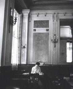 """photopapillon: """" Simone de Beauvoir at les Deux Magots, Paris 1944 by Robert Doisneau """""""