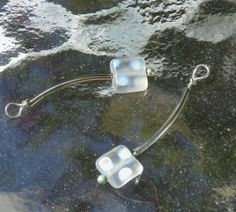 Dichroic dot frosted beads/ Silver tube beads/ by AFrogsKiss