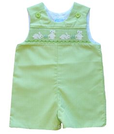 Green Microcheck Shortall with Bunny Rabbit Smocking for Baby and Toddler Boys by Bow Peep.