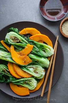 Steamed Pumpkin and Bok Choy with Ginger Sesame Dressing from gourmandeinthekitchen.com