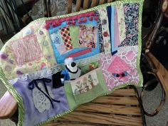 Crafts for seniors, lap quilts, alzheimer's and dementia, dementia cra Alzheimers Activities, Sensory Blanket, Fidget Blankets, Fidget Quilt, Alzheimer's And Dementia, Dementia Crafts, Activity Mat, Hand Therapy, Crafts For Seniors