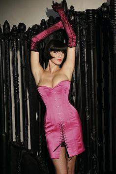 Korsettkleid Kl1 in pink satin von Gr. 34 bis 50 erhältlich, auch nach Maß und in ahnden Farben