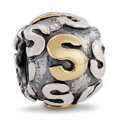 Pandora Letter S Charm 14k Gold and Sterling Silver