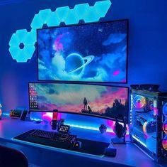 Best Pc Setup, Best Gaming Setup, Gaming Room Setup, Nerd Room, Gamer Room, Pc Gamer, Computer Gaming Room, Computer Setup, Desktop Design