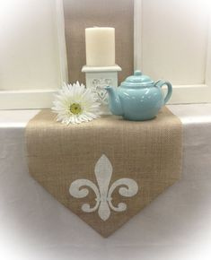 Burlap Table Runner 12 14 & 15 wide with a Fleur by CreativePlaces, $14.00