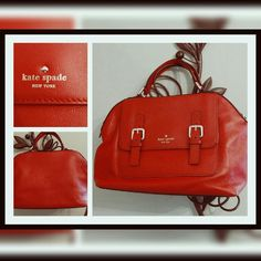 [kate spade] Allen Street Raquelle in Pillbox Red A gorgeous, NWOT red leather satchel that is transformable into a crossbody. Zipper section has three pockets, one large and two small. The bright buckles adorn a separate pocket with a magnetic closure. Perfect for summer! kate spade Bags Crossbody Bags