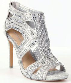 0f3d9e48b Gianni Bini Sianna Jeweled Beaded Cut Out Sandal fabric silver