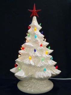 Silver Bells Ceramic White Christmas Tree with Music Box 16 in