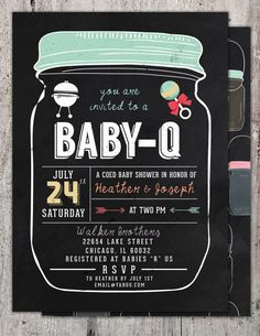 BABY Q Invitation BabyQ Baby Shower Invitation by LyonsPrints