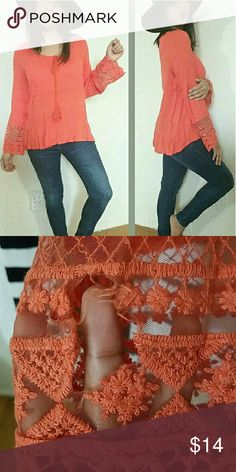 |new | ORANGE CORAL EMBROIDERED PEASANT TOP SMALL Brand new top with defect. Has a hole on sleeve where embroidery is. It's the only defect and that's why it's on sale! Beautiful top regardless. Size Small.   Tops