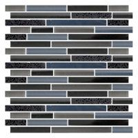 Lindenwood Stria 12 x 12 in Mosaic is a blend of Black Granite and a mixture of blue glass tiles. #thetileshop