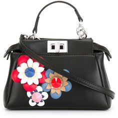 Fendi micro 'Peekaboo' crossbody bag (6,380 AED) ❤ liked on Polyvore featuring bags, handbags, shoulder bags, black, leather purses, crossbody purse, genuine leather purse, fendi handbags and leather cross body handbags