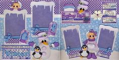 $34.99 Snow Day Winter 2 Premade Scrapbook Pages Girl Paper Piecing 12x12 by Cherry | eBay