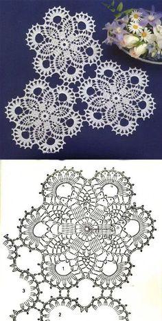 Crochet Ideas With Knitting Patterns - Diy And Crafts Crochet Doily Diagram, Crochet Motif Patterns, Crochet Squares, Crochet Designs, Crochet Ideas, Crochet Dollies, Crochet Art, Thread Crochet, Crochet Flowers