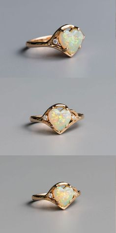 Beautiful Engagement Opal Ring with Strong Play of Rainbow Colors. Size Free Gift Bag/Box with every order! Every Opal piece is Unique. You won't find two exactly identical opal gems because of their unrepeatable play-of-color. Opal Diamond Engagement Ring, Leaf Engagement Ring, Engagement Ring Buying Guide, Three Stone Engagement Rings, Evil Eye Jewelry, Opal Jewelry, Jewellery Rings, Rose Gold Morganite Ring, Unique Rings