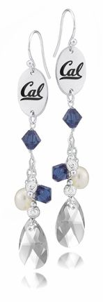 California Berkeley Golden Bears Color Crystal and Pearl Earrings High Quality California Berkeley Jewelry #california #berkeley #jewelry #collegejewelry #earrings #crystal #blue #bears