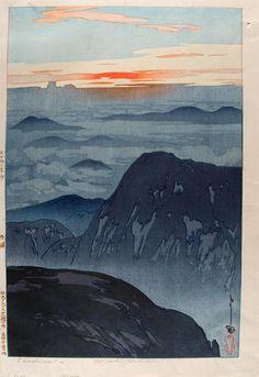 une collecte: Color Woodcuts Eboshi-ha-dake no Asahi (Sunrise on Mt. Eboshi) by Yoshida Hiroshi, 1926