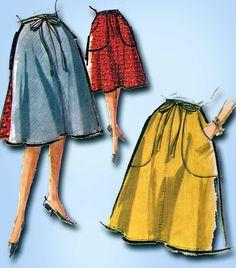 1960s Vintage McCalls Sewing Pattern 6739 Misses Reversible Wrap Skirt Sz MED