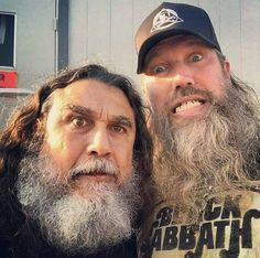 Johan Hegg with Tom Araya at Chicago Open Air, 16 July 2017