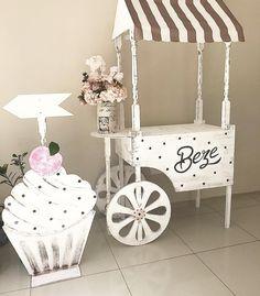x x Wooden Vendor Cart w/ 3 Shelves - Pine 19402 Party Fair, Vendor Cart, Food Court Design, Backyard Carnival, Wooden Cart, Sweet Carts, Ice Cream Cart, Craft Booth Displays, Picnic Birthday