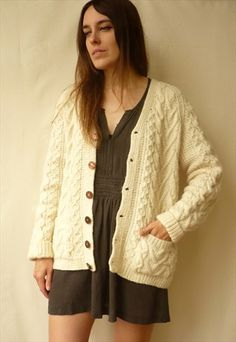 Vintage Cream Hand Knitted Wool Aran & Cable Cardigan