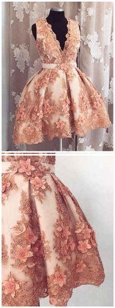 A-line Deep-V Mini Tulle Appliqued Rhine Stone Homecoming Dresses ASD2636 #homecomingdresses #short #mini #applqiue #rhinestone