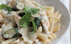 Basil, Lemon and Garlic Chicken with penne. Light, bright and so easy to make! #chicken #recipes
