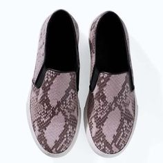 Zara Leather Snake Print Slippers Shoes Sneakers Slip ON a250
